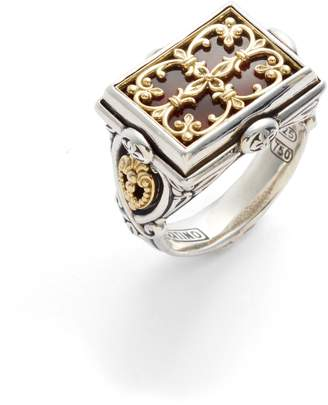 Konstantino Etched Sterling Carnelian Ring