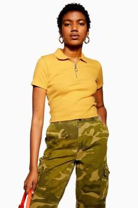 Topshop Short Sleeve Zip Polo