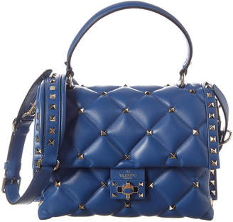 Valentino Candystud Medium Quilted Leather Top Handle Satchel