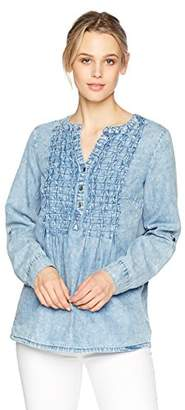 Nine West Women's Dorothy Roll Sleeve Pullover with Pintuck Details