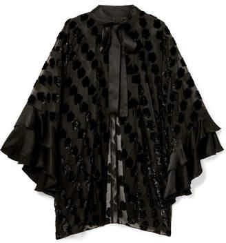 Anna Sui Daisy Delight Satin-trimmed Flocked Chiffon Kimono - Black