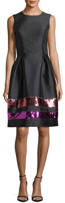 Sachin + Babi Sequin-Striped Taffeta Cocktail Dress