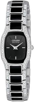 Citizen Women's Eco-Drive Stainless Steel and Black Enamel Bracelet Watch 19mm EW9780-57E