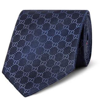 Gucci 8cm Logo-Jacquard Silk Tie - Men - Navy