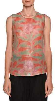 Giorgio Armani Floral-Print Sleeveless Silk Shell