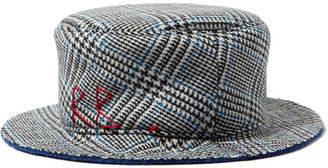 Ruslan Baginskiy Embroidered Checked Wool Bucket Hat - Black