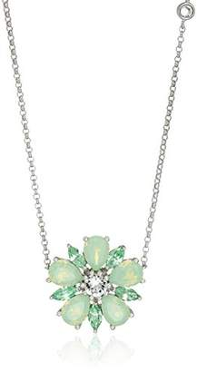 clear Sterling Silver Chrysolite Opal Crystal and Crystal Flower Pendant Necklace