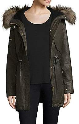 SAM. Women's Long Hudson Military Raccoon Fur Coat