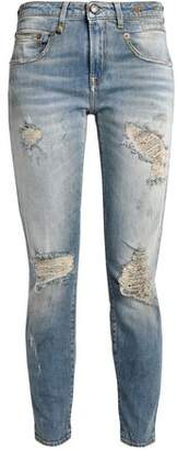 R 13 Cropped Distressed Mid-Rise Skinny Jeans