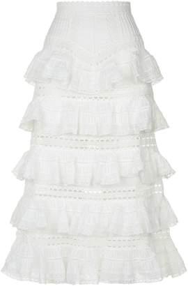 Zimmermann Heathers Tiered Ruffle Midi Skirt