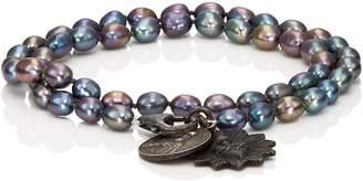 Miracle Icons Men's Vintage-Icon Pearl Wrap Bracelet