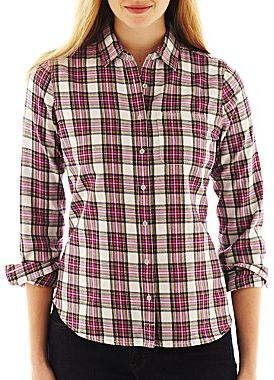 JCPenney jcp Brushed Twill Flannel Plaid Long-Sleeve Shirt