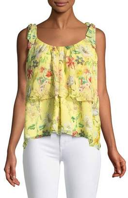 Parker Percy Scoop-Neck Floral-Print Silk Top