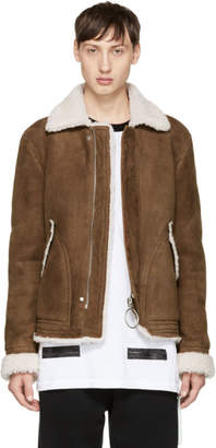 Off-White Brown Shearling Harrington Jacket