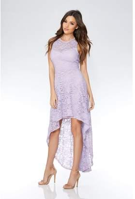 Quiz Lilac Glitter Lace Dip Hem Dress