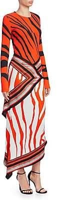 Roberto Cavalli Women's Silk Zebra Print Scarf Maxi Dress