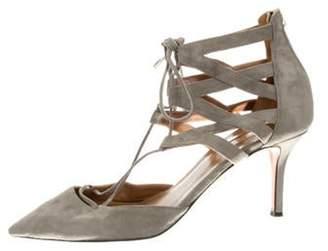 Aquazzura Suede Pointed-Toe Sandals Grey Suede Pointed-Toe Sandals