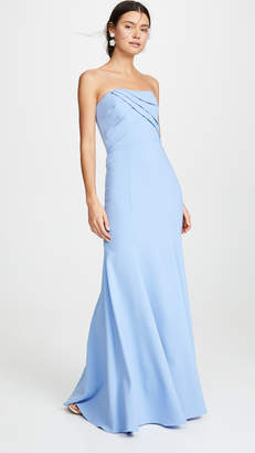 Marchesa Sleeveless Draped Bodice Gown