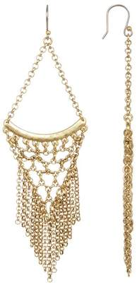 Lucky Brand Antique Finish Tiered Chain Fringe Statement Earrings