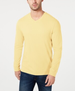 Club Room Men's V-Neck Long Sleeve T-Shirt, Created for Macy's