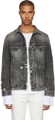 R13 Black Denim Distressed Zip Trucker Jacket $795 thestylecure.com