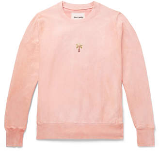 story. Mfg. - Embroidered Fleece-Back Organic Cotton-Jersey Sweatshirt - Men - Pink