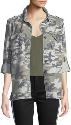 Velvet Heart Demi Camo Button-Front Military Jacket