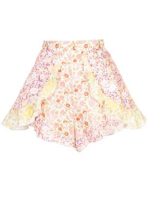 Zimmermann Goldie Spliced High Waisted Floral Shorts