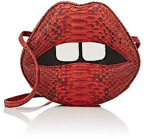 "Gelareh Mizrahi Women's ""Lara Stoned Lips"" Python Clutch - Red"
