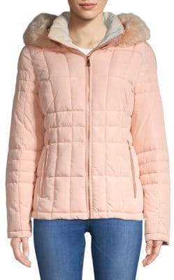 Calvin Klein Quilted Faux Fur Hooded Jacket