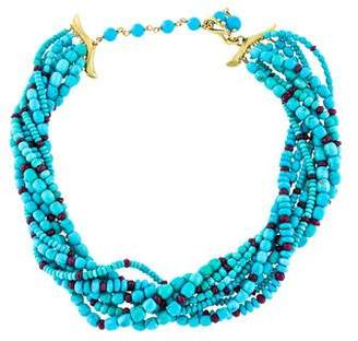 Paul Morelli 18K Turquoise & Ruby Multistrand Necklace