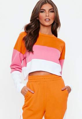 Missguided Pink Contrast Panel Cropped Sweatshirt