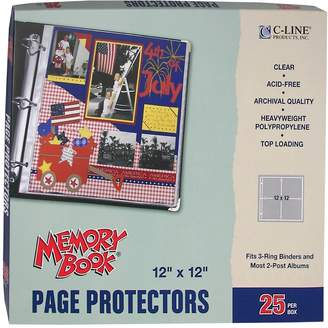 C-Line Memory Book Top-Load Page Protectors, 12-Inch by 12-Inch-3-Ring and Postbound Use, 25/Box