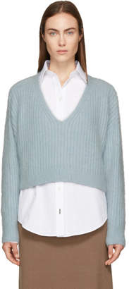 3.1 Phillip Lim Blue Mohair Cropped Sweater