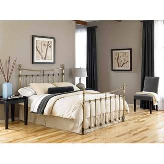 Leighton shoes Leggett & Platt Metal Headboard and Footboard Bed Panels with Straight-Lined Spindles and Scalloped Castings, Glazed Brass Finish, Queen