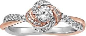 Primrose PRIMROSE Two Tone Sterling Silver Cubic Zirconia Love Knot Ring