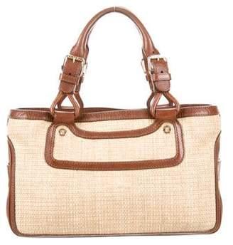 Celine Leather-Trimmed Straw Boogie Bag
