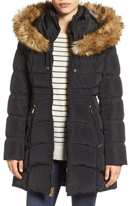 Women's Laundry By Shelli Segal Hooded Down & Feather Fill Coat With Detachable Faux Fur Trim $280 thestylecure.com