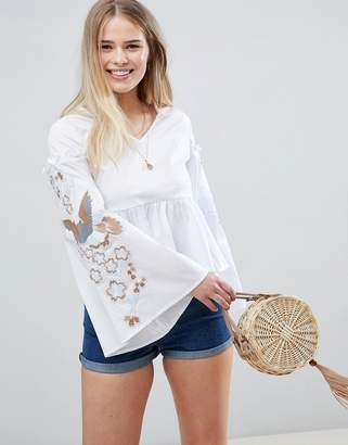 Glamorous Smock Top With Flared Sleeves And Embroidery