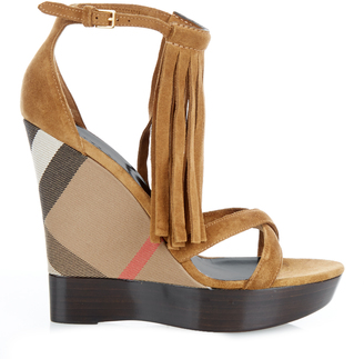 BURBERRY LONDON Minstead suede fringed wedge sandals $573 thestylecure.com