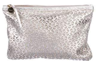 Clare Vivier Metallic Laser Cut Leather Clutch