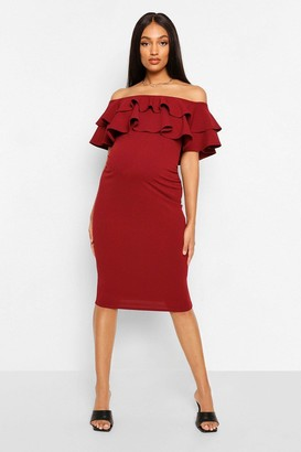 95c29ea69894e boohoo Maternity Ruffle Off The Shoulder Midi Dress