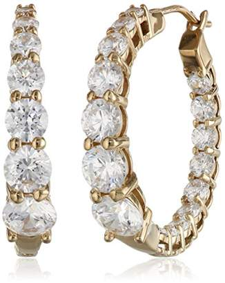 Swarovski Yellow Gold Plated Sterling Silver Hoop Earrings set with Graduated Zirconia (3.76 cttw)