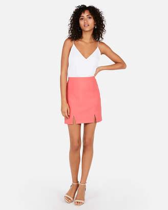 Express High Waisted Ribbed Mini Skirt
