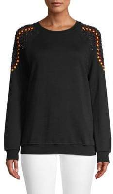 Embellished Shoulders Cotton Sweatshirt