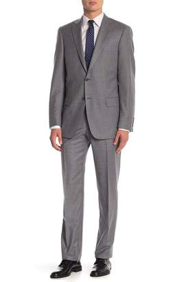 Hart Schaffner Marx Grey Sharkskin Two Button Notch Lapel Wool Classic Fit Suit