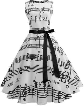 Wellwits Women's Boat Neck Sash Tie Music Print Midi Fall Swing Dress S