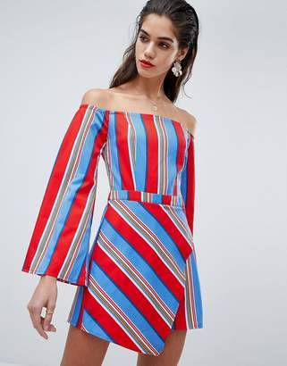 Missguided Stripe Bardot Skort Romper