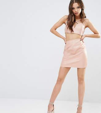 Missguided Petite Look Leather Mini Skirt