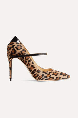 Jennifer Chamandi - Lorenzo Patent Leather-trimmed Leopard-print Calf Hair Pumps - Leopard print